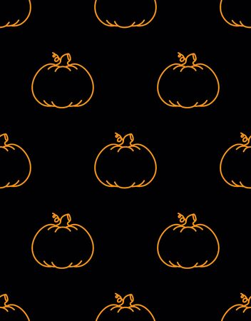 seamless pattern with contur pumpkins on black background, simple picture with pumpkins to holiday halloween, abstract wallpaper with vegetables, vector repeating print