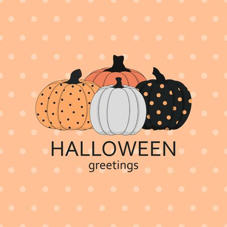 happy halloween background illustration vector, vector thanksgiving pumpkin greeting card template Stock Vector - 128237281