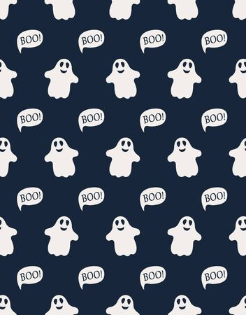 seamless pattern of cute white little ghosts with bows and lettering boo on dark blue background, funny simple halloween vector illustration