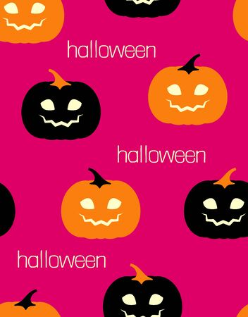 seamless pattern of cute orang and black pumpkins on pink background, funny halloween vector illustration Illustration