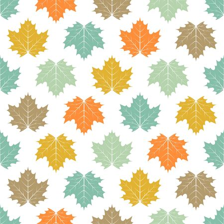vector seamless pattern with maple leaf, bright autumn background, colorful vintage template