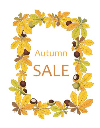vector autumn background, frame with fallen yellow chestnut leaves and lettering autumn sale Illustration