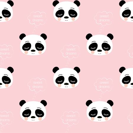 pattern of cute sleeping panda with lettering sweet dreams on pink background, adorable character for your design Stock Vector - 129064925