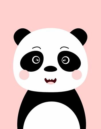 cute panda character vector design, greeting card, invitation with panda, poster with sweet mammal and lettering be panda