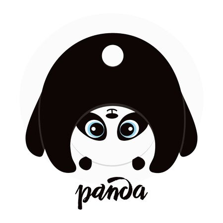 cute upside down panda isolated on white, sweet character for your design
