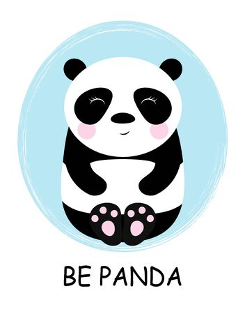 cute panda with lettering isolated on blue background, sweet character for your design Illustration
