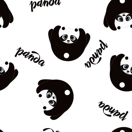 seamless pattern of cute upside down panda isolated on white, sweet character for your design