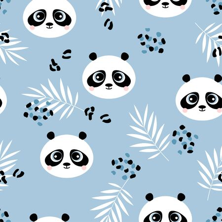 pattern of cute panda with plants on blue background, adorable character for your design