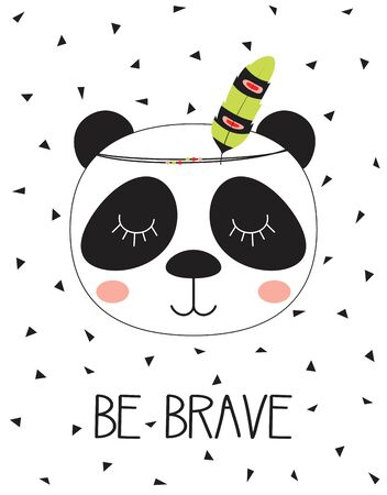cute cartoon tribal panda with feather and lettering be brave on white background Illustration