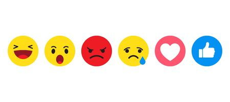 Set of emoticon with yellow cartoon bubble emoticons for social media chat comment reactions, smile, sad, happy, angry laughter emoji character message. Vector illustration