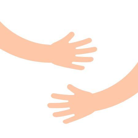 Two human hands holding or embracing something. Hugging hands. Vector illustration. Illustration