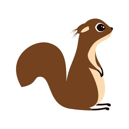 vector illustration of little cute squirrel isolated on white background, can be used for greeting card, poster, print and any desing