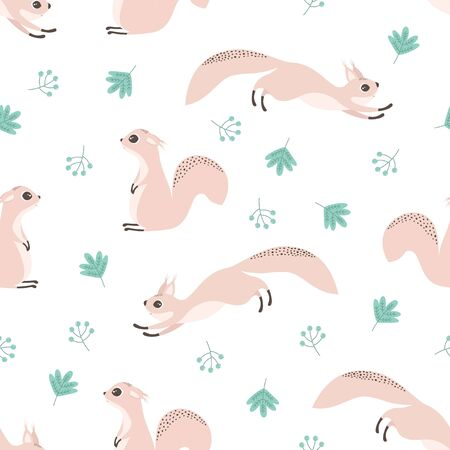 seamless pattern with cute squirrels, leaves and berries, autumn vector illustartion, simple desing