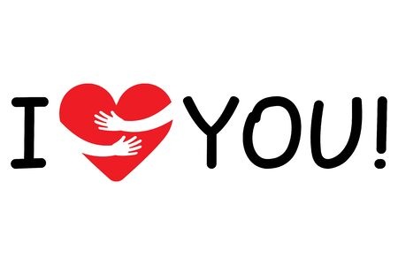 I Love You inscription. Symbol of love in arms embracing. Valentines Day. Vector illustration.