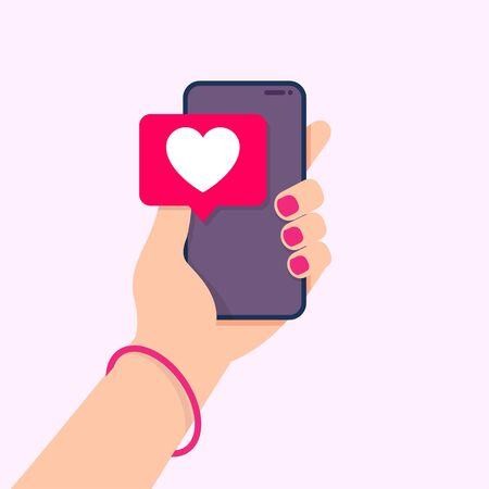 Smartphone screen with message of heart speech bubble. Social network and mobile device. Sending love message concept. Vector illustration