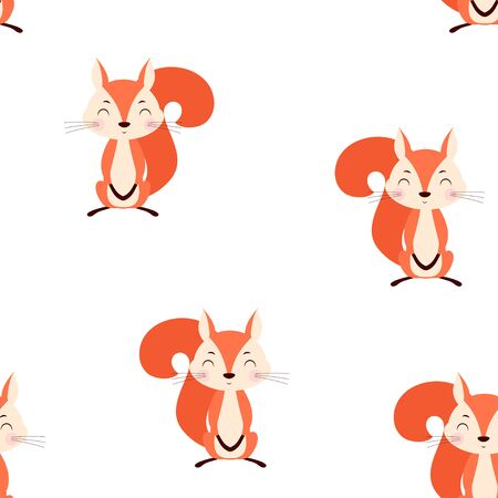 seamless pattern of cute squirrel isolated on white background, vector illustration with cute mammal Illustration