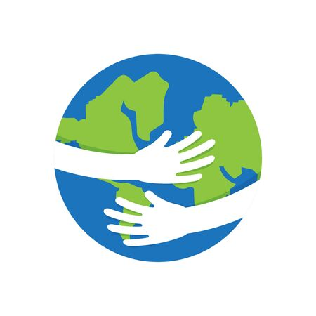 April 22 Earth Day, planet in our hands. Ecological concept for World Environment Day. Vector illustration Illustration