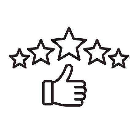 Ranking. Five star rating icon. Customer excellent review and feedback. Vector illustration Illustration