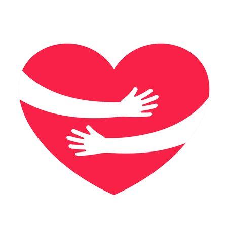 Mani che abbracciano il cuore rosso con amore. San Valentino. Giornata mondiale del cuore. Abbracciando il simbolo dell'amore. Illustrazione vettoriale