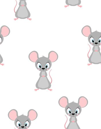 seamless pattern of cute rat isolated on white, vector illustration for any desing, banner background