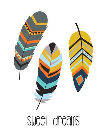 sweet dreams, boho art print with decorative feathers in ethnic style, perfect for invitations, greeting cards, quotes, blogs, posters and more Illustration