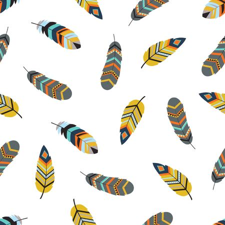 sweet dreams, boho art pattern with decorative feathers in ethnic style, perfect for invitations, greeting cards, quotes, blogs, posters and more