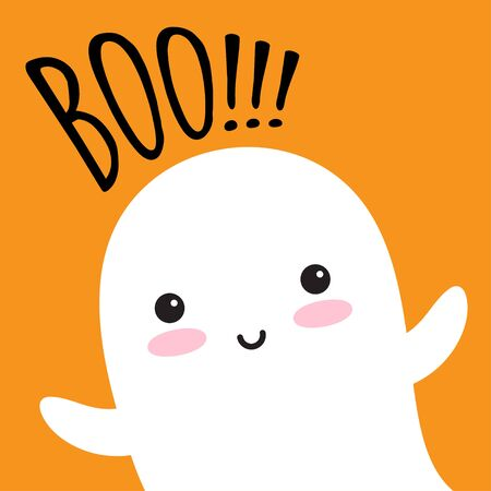 Happy flying Ghost with speech bubble Boo. Scary white ghost. Cute little flying Ghost. Vector illustration