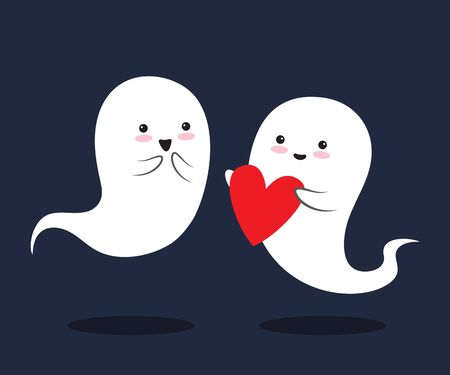 Two cute little love ghosts are with smile, holding hands. Happy Halloween. Vector illustration Illustration