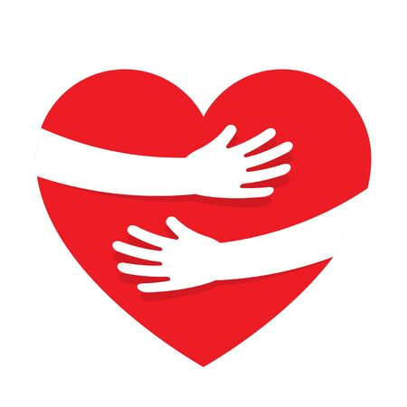 Hands embracing red heart with love. Valentine Day. World heart day. Embracing love symbol. Vector illustration