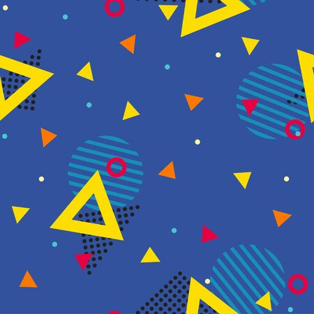 Abstract geometric seamless patternt of various symbols. Retro funky graphic, 90s trends designs. Vector illustration