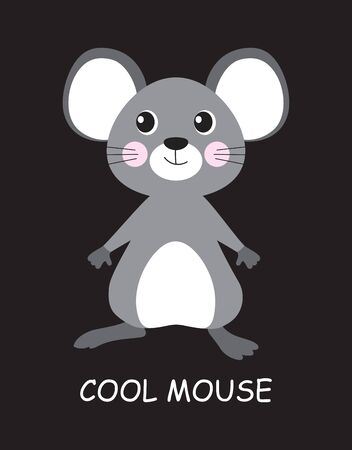 card of cool cute mouse with lettering isolated on black background, vector illustration
