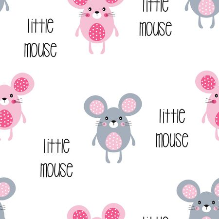 seamless pattern of cute little mouse with lettering on white background, vector illustration