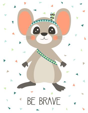 print of cute mouse isolated on white, tribal rat, vector illustration for any desing, banner background Illustration