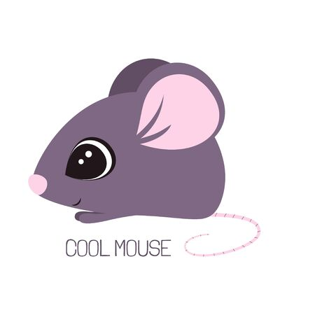 card of little purple mouse with lettering isolated on white background, vector illustration