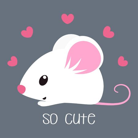 card of little mouse with lettering so cute and pink hearts on grey background, vector illustration