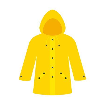Yellow raincoat waterproof clothes. Vector illustration