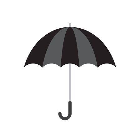 Black umbrella icon. Rain protection symbol. Black umbrella isolated on white background. Vector illustration