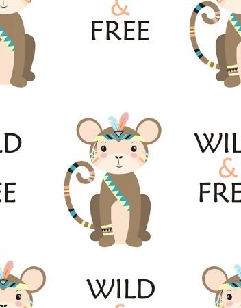 seamless pattern of cartoon monkey indian, vector illustration of cute chimpanzee in headdress with feathers, drawing tribal animal for children