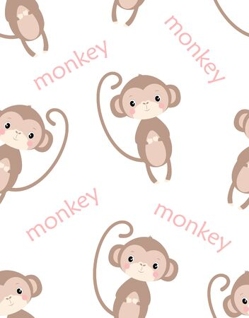 cute pattern of funny monkey and lettering isolated on white, simple design with mammal, vector illustration