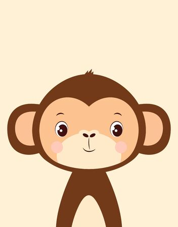 cute card of funny monkey isolated, simple design with mammal, vector illustration