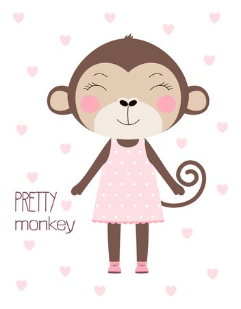 cute card of pretty monkey in pink dress with lettering isolated on white and hearts, simple design with mammal, vector illustration