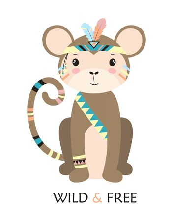 cartoon monkey indian, vector illustration of cute chimpanzee in headdress with feathers, drawing tribal animal for children Illustration