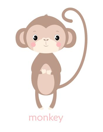 cute card of funny monkey and lettering isolated on white, simple design with mammal, vector illustration