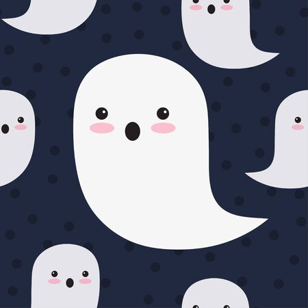 Seamless pattern of cute ghosts on black background. Halloween. Vector illustration