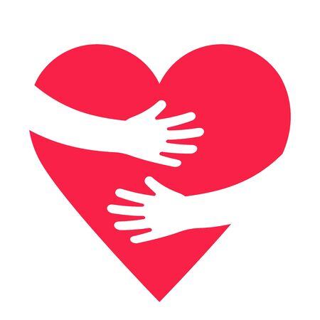 Hände, die rotes Herz mit Liebe umfassen. Valentinstag. Weltherztag. Umfassendes Liebessymbol. Vektor-Illustration Vektorgrafik