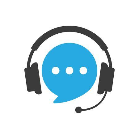 Speech bubble with headphones. Illustration