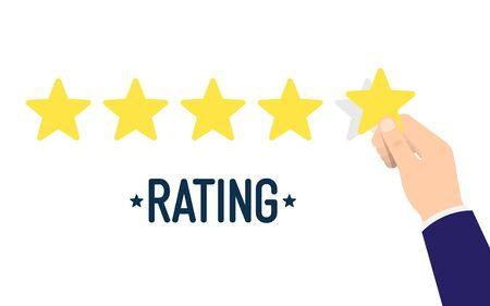 Human hands put rating five star. Customer reviews, rating, classification concept. Rank. Vector illustration