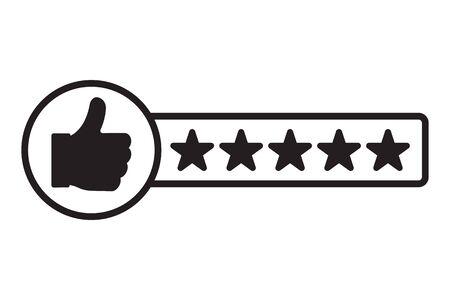 Valutazione del consumatore soddisfacente. Icona di recensione del cliente. Illustrazione vettoriale