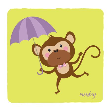 card of cute monkey with bow and umbrella isolated on yellow background, tshirt design for any vector illustration