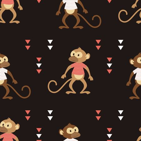 seamless pattern of cheeky monkey in striped tshirt with geometric, shapes isolated on black background, tshirt design for kids vector illustration